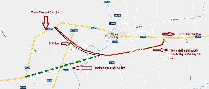 Bản đồ tuyến tránh Thị xã Cai Lậy