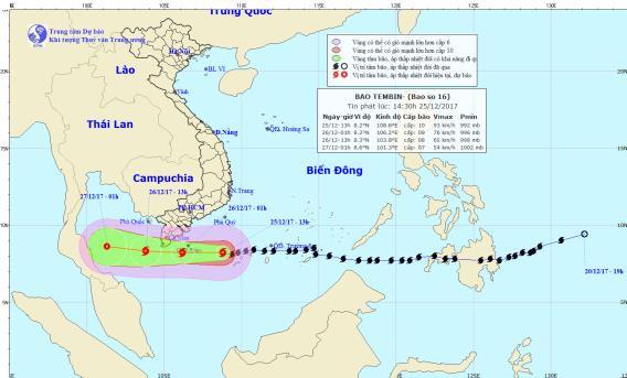 Vị trí và đường di chuyển dự kiến của bão số 16. Nguồn: Trung tâm dự báo khí tượng thủy văn Trung ương