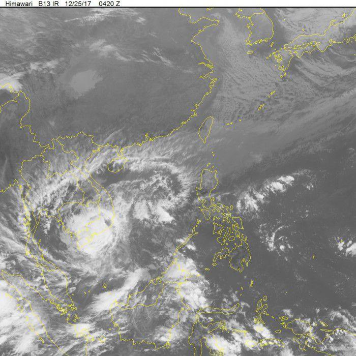 Ảnh mây vệ tinh về cơn bão số 16. Nguồn: Trung tâm dự báo khí tượng thủy văn Trung ương