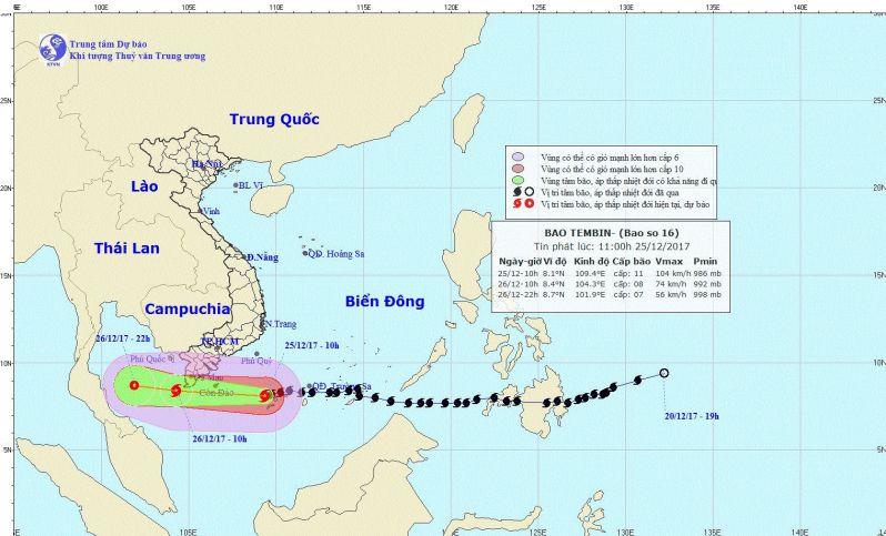 Hướng di chuyển dự báo của bão Tembin theo Trung tâm Khí tượng Thủy văn Trung ương.