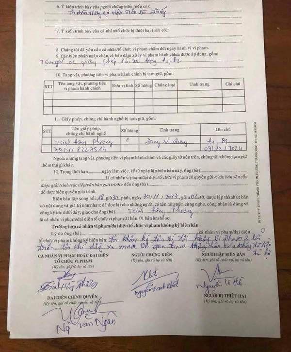 Biên bản vi phạm hành chính của CSGT Tiền Giang không được triện dấu của cơ quan này