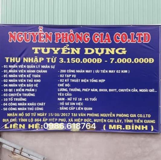 Nguyễn Phòng Gia Co.Ltd tuyển dụng các vị trí thuộc ngành giày da