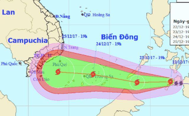 Sơ đồ đường đi của bão Tembin đổ bộ vào các tỉnh ven biển Tây Nam bộ, trong đó Tiền Giang và Bến Tre được dự báo ảnh hưởng nặng.