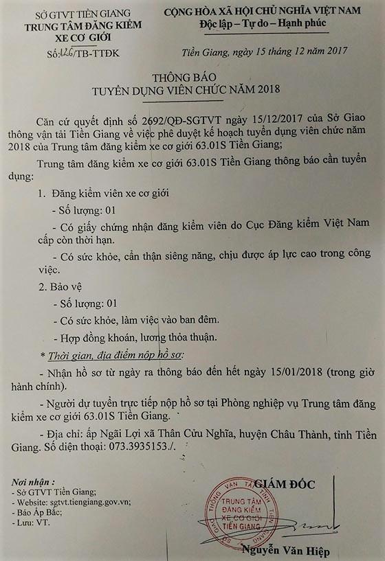 TT đăng kiểm xe cơ giới 63.01S Tiền Giang tuyển dụng viên chức 2018