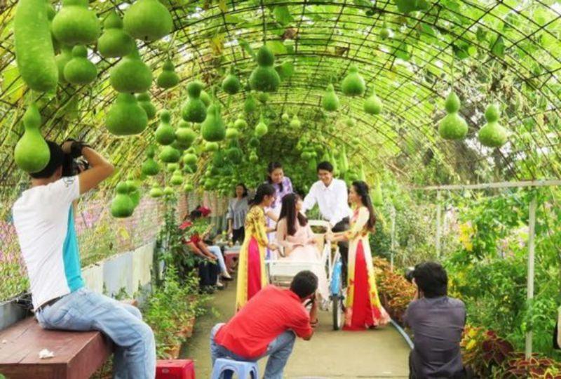 Giàn bầu hồ lô tại vườn hoa Mãn Đình Hồng cũng được nhiều du khách chụp ảnh