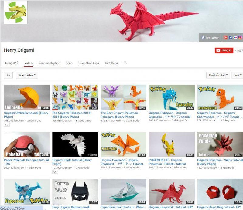 Kênh Youtube Henry Phạm - Nghệ sỹ Origami từ Mỹ Tho nổi tiếng thế giới