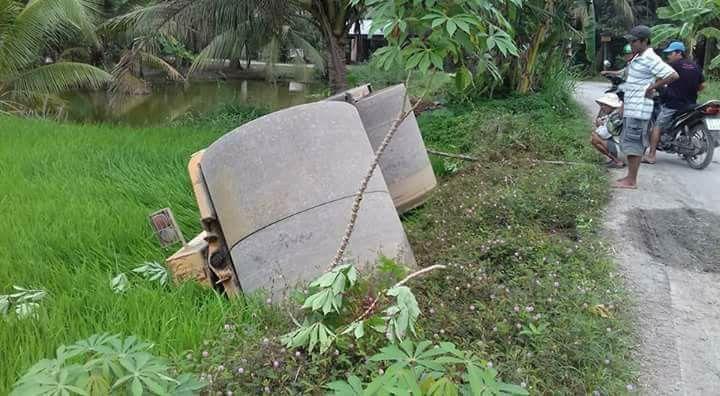 Tiền Giang: Xe lu bị lật xuống ruộng do hỏng phanh khi đang chạy nhanh trên đường lộ - Ảnh 1.