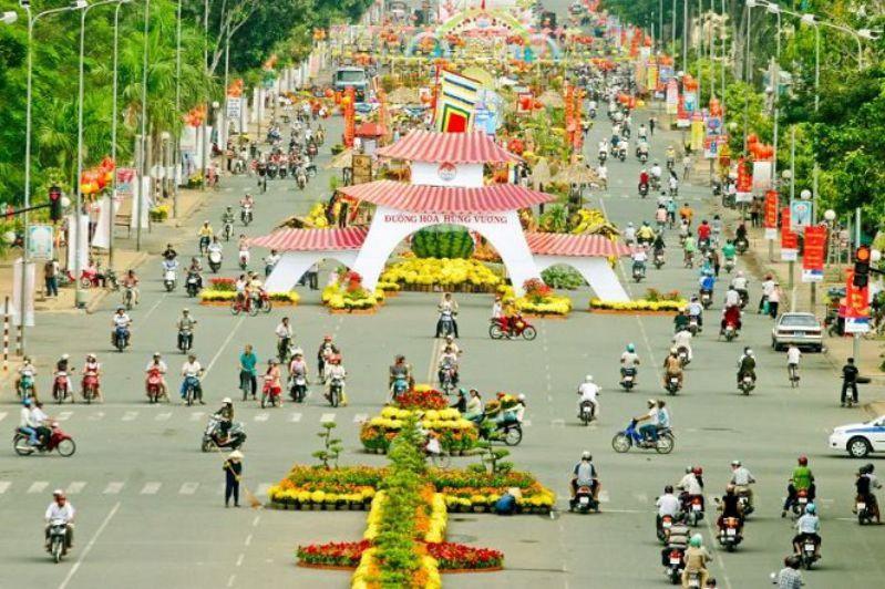 Đường Hoa Hùng Vương Mỹ Tho - Tiền Giang 2017