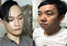Đức (trái) và Cường lúc bị bắt. Ảnh: Tiền Giang.