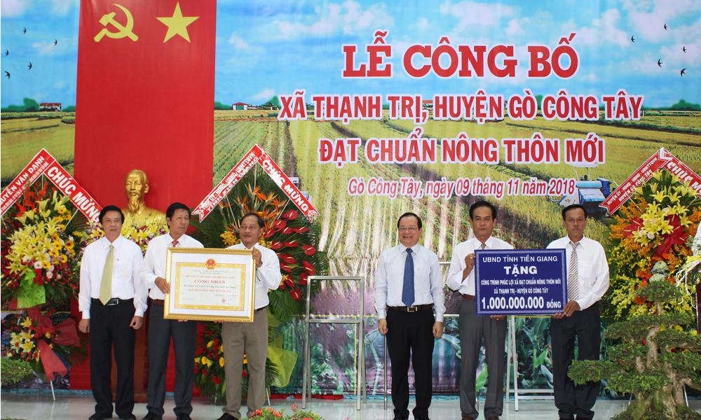 Trao Bằng Công nhận cho xã Thạnh Trị (huyện Gò Công Tây).